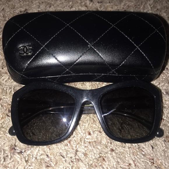 d0b9e02d300 CHANEL Accessories - Chanel black modified cat eye polarized sunglasses